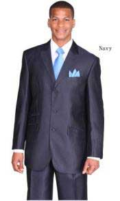 Mens Dark Navy Ticket Pocket Three Button Peak Lapel Dark Blue Suit