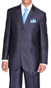 Ticket Pocket 3 Button Peak Lapel  Dark Blue Suit