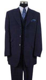 Mens Peak Lapel Vested 3 Piece Ticket Pocket - Dark Blue Suit