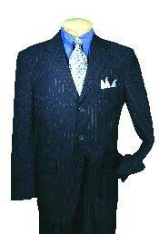 Single Breasted Dark Navy affordable Stripe ~ Pinstripe Blue Pleated Pants Cheap Business Suits Clearance Sale online