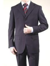 Mens Dark Navy Super Wool Feel Poly~Rayon 3 Button Suit Dress Busines