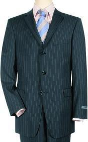 70102 Navy Pinstripe premier quality italian fabric Super 140 100% Wool Three ~ 3 Buttons