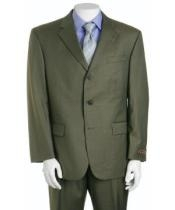 Green Three ~ 3 Buttons Super 150s Wool