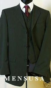YLE499 Olive Green Super 150s 3 Buttons Vested Super 150s Wool