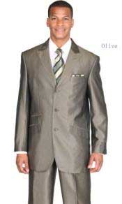 Mens Ticket Pocket Three Button Peak Lapel Olive Suit