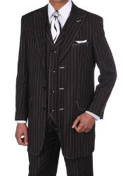Mens Classic Bold Chalk Gangster Stripe 3 Button Pinstripe Suits w/Vest Black with White Stitching