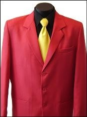 Excluive Three buttons Notch Lapel Mens Dress Blazer or Suit with Metal Buttons in Red Colors