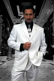buttons Solid WHITE EXTRA FINE 2PC Single breast Suits For Men