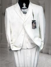 CLASSIC 3PC High Vested 3 BUTTON SOLID WHITE MENS SUIT WITH