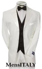 NJT3HT Light Weight White Mens Tuxedo 3 Buttons + Black Vested + Tuxedo Shirt & Bow Tie