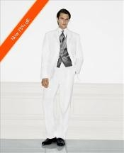 White Mens Wedding Suit Notched Lapel 3 Button Style Ultimate Stylish Suit