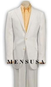 Three Buttons White Wool Suit