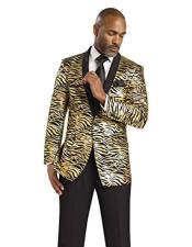 Gold Tiger ~ Shiny ~ leopard Zebra Print fashion Pattered Blazer Sport coat Dinner Jacket