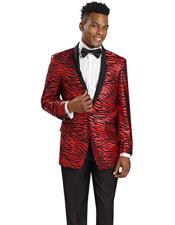 Tiger ~ Shiny ~ leopard Zebra Print fashion Pattered Red Blazer Sport coat Dinner Jacket