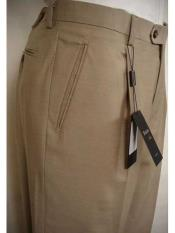 Tiglio Luxe Beige Single Pleat Wool Italian Solid Flat Front Dress Pant