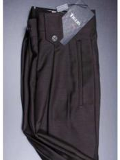 Mens Wide Leg Pleated Pant With Flap Pockets Brown
