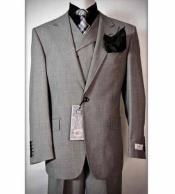 Rosso Mens Grey 3 Piece Birdseye Italian Peak Lapel Vested Wool