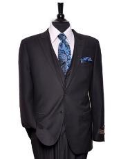 Tiglio Lux Mens 2 Button  Suit Solid Black Tufo