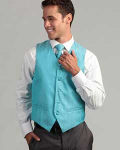 turquoise ~ Light Blue Stage Party 4-Piece Vest Set Also available in Big and Tall Sizes