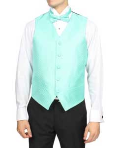 Mens Pale turquoise ~ Light Blue Stage Party 4-Piece Vest Set Also available in Big and Tall