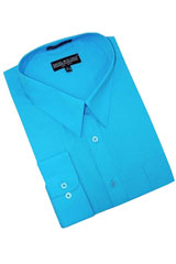 ~ Light Blue Stage Party Cotton Blend Dress Shirt