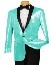 Shiny Paisley One Button Turquoise ~ Aqua Blazer ~ Mens Black Lapel Sport Coat Tuxedo Dinner Jacket