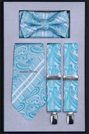 Mens Suspender Tie Bow Tie ~ Bowtie and Hanky Set turquoise