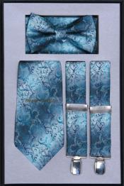 Suspenders For MenTie Bow Tie and Hanky Set turquoise ~ Blue