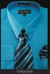 Dress Shirt - PREMIUM TIE - turquoise ~ Light Blue Stage