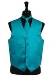 Tuxedo Wedding Vest Tie Set turquoise ~ Light Blue Stage Party