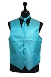 Rib Pattern Dress Tuxedo Wedding Vest Tie Set turquoise ~ Light