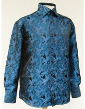 High Collar Fashion ~ Shiny ~ Silky Fabric Turquoise Shiny Floral