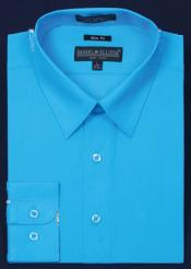 Slim Fit Dress Shirt - turquoise ~ Light Blue Stage Party Color