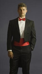Tuxedo with Tailcoat Vented and Flat Front Pants Black With Free Tuxedo