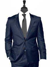 Alberto Nardoni Two Button Dark Navy Blue Suit For Men Vested 3