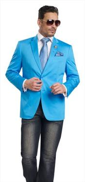 Mens Aqua ~ Turquoise Color 2 Button 2 Piece Blazer