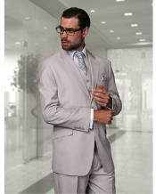 Confidence Mens Ash Grey 2 Button Modern Fit Wool Fine Brands