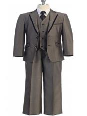 5 Piece Beige Two Button Trimmed Notch Lapel Vested Suit