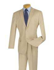 Cheap Slim Fit 2 Button Beige Suit With Flat Front Pant