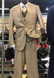 Mens Vittorio St Angelo 2 Button Peak Lapel Suit Beige