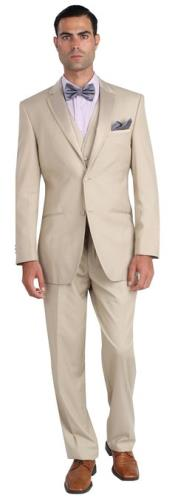 Mens Two Button Khaki ~ Tan ~ Sand Tuxedo Jacket & Pants