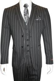 Mens Bold Gangster 1920s Vintage Black and White Gangster Bold Stripe 2 Button Vested Suit