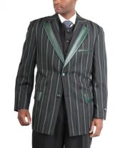Two Button Cotton TimmedSuit Three Piece Trimmed Peak Lapel Black/EmeraldBlack WineRasin