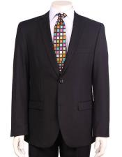 Mens Vitali Authentic 2 Button Black Slim Fit Suit