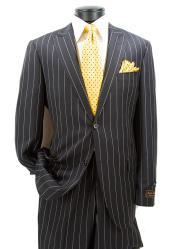 Mens 2 Button Modern Fit Peak Lapel Black Pinstripe Pattern Suit