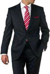 Two Button Black Pinstripe Cheap Priced Business Suits Clearance Sale 2 Piece Suits - Two piece Business