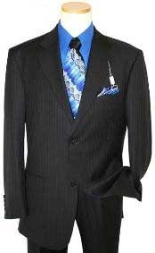Two Button Black On Black Shadow tone on tone Stripe ~ Pinstripe Cheap Priced Business Suits Clearance