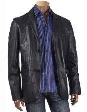 Inserch Mens Black 2 Button Notch Lapel Long Sleeve Leather Blazer