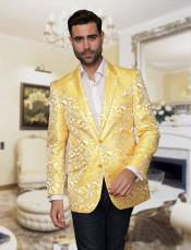 Big and Tall Single Breasted Yellow Sport coat Jacket Tuxedo Looking Paisley floral Pattern