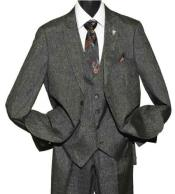 Mens Stacy Adams Brand Sharkskin Peak Lapel 2 Button Single Breasted